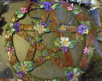 Large Spring Equinox Pentacle Polymer Clay Wall Decor