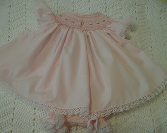 Smocked Diaper Set with Monogramme NB to 18mths-Special Order