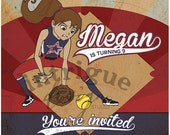 Softball Invitation - Girls - Print-It-Yourself