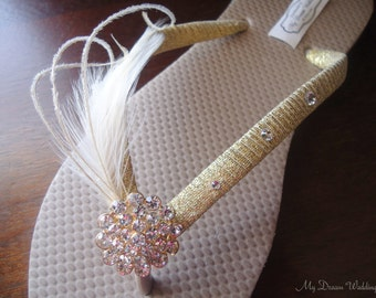 Gold Flip Flops. Sand color -Tan flip flops with golden ribbon & ivory feathers. CZ crystal button 18kg plated base - Arleny Collection-01