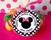 12 Minnie Mouse Birthday Party Favor Tags in Hot Pink Polka Dot