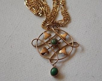 Art Nouveau Necklace 9c Gold Green Stone Drop Swirls BEAUTIFUL