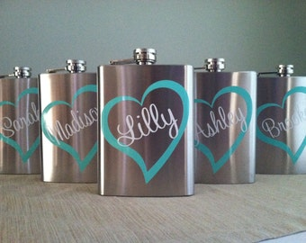 13 Personalized Bridesmaid Stainless Steel 8 oz. Flasks