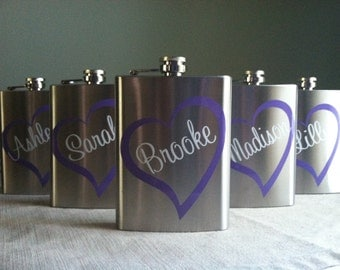 4 Personalized Bridesmaid Stainless Steel 8 oz. Flasks