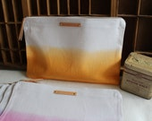 Ombre Canvas Pouch.. (with leather zip pull & personalized leather label) - Your choice of color