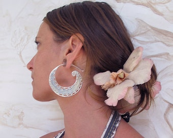 Spiral Moon (Large) Silver Earrings