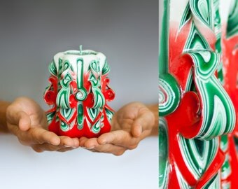 Christmas gift - Christmas candles - Carved Christmas candle