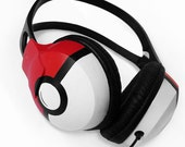 Poke-phones headphones earphones in black red and white handpainted