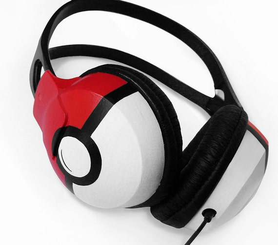 Poke-phones headphones earphones in black red and white handpainted