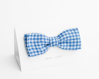 Houndstooth bow tie, blue bow tie - double sided