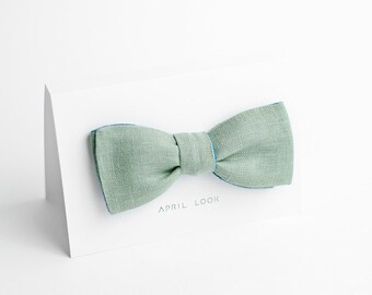 Pale green, teal green self tie bow tie - double sided, MADE TO ORDER