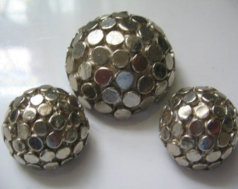 VINTAGE CHUNKY RUNWAY  Brooch and Earrings Set by Jeanne 1960's Mod