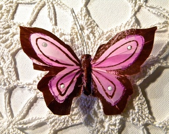Velvety Violet/Pink Feather Butterfly Hair Clip