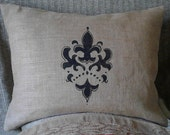 "Fleur de Lis Burlap Standard/Queen Sham Pillow Cover 26"" X 20"" Fully Lined For Even Coverage"