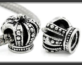 PRINCESS Studded Crown for SPECiAL Little GiRL - Great Quality - Antique Silver Plated Charm Bead - fits European Bracelets - MS-1162