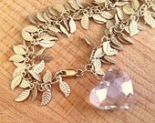 Gold Charm Bracelet - Crystal Bracelet - Crystal Heart Jewelry - Crystal Jewellery - Vermeil Chain