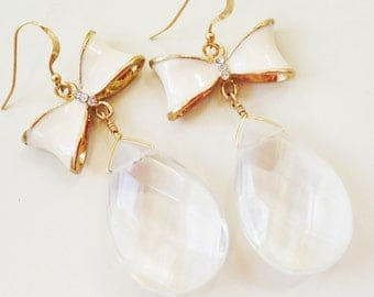 Crystal Quartz Earrings - Bow Jewelry - White Jewellery - Wedding - Bride - Dangle - Fashion - Style - Teardrop