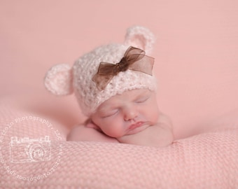 Newborn Bear Hat, Newborn Photo Prop, Crochet Baby Hat, Girl Newborn Boy, Cute Baby Crochet Hat, Teddy Bear