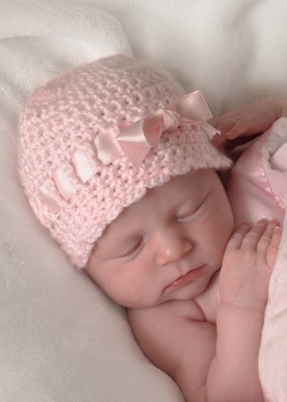 Baby Hat with Bow, Newborn Hat, Crochet Baby Girl Hat, Newborn Girl Hospital Hat, Newborn Photo Prop, Crochet Baby Hat, Pink Newborn Hat