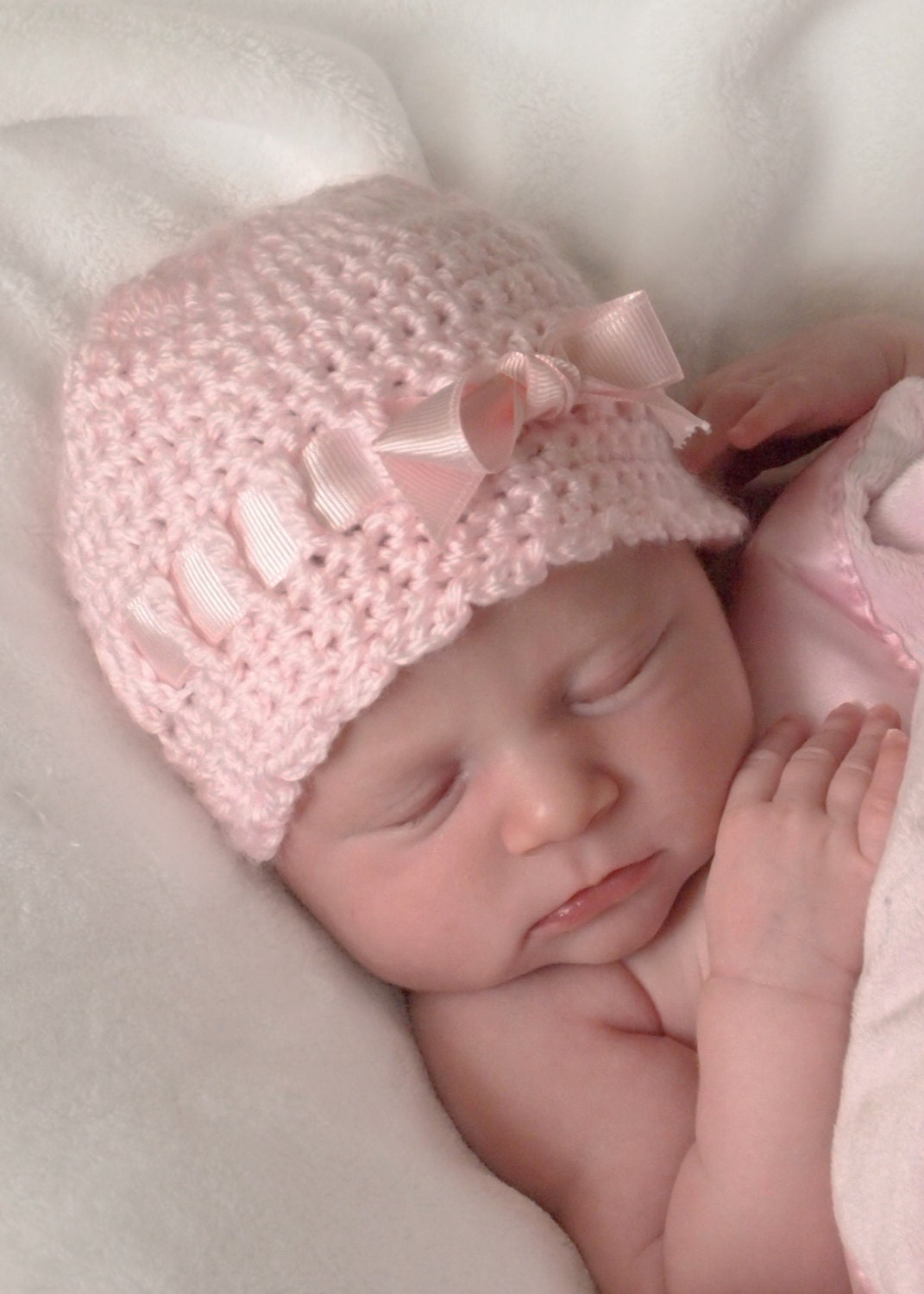 Newborn Girl Hat Crochet Baby Hat with Bow Newborn Hat