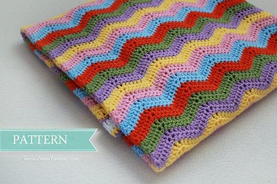 Crochet Pattern Simple Ripple Baby Blanket Pattern No 014