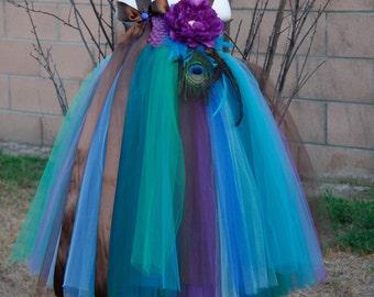 Flower girl dress. Peacock Inspired Tutu Dress Series VI.baby tutu dress, toddler tutu dress, wedding, birthday,custom tutu,party dress.