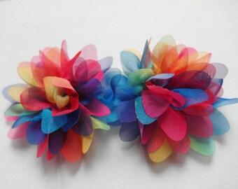 "10 Organza 2.5"" Colorful Rainbow Flower D007"