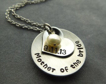 Mother of the Bride or mother of the groom hand stamped stainless steel necklace
