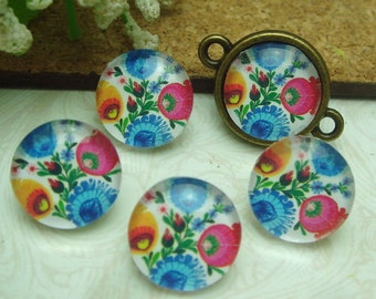 10pcs (12mm ) Handmade Photo Glass Cabochons - (A1215)