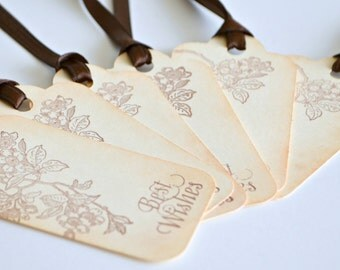 Best Wishes Tags - Cherry Blossoms Tags - Wedding Wish Tags - set of 6