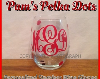Personalized STEMLESS WINE GLASS with Name Initial Monogram Polka Dots You Pick Color Great Christmas Wedding Birthday Bachelorette Gift