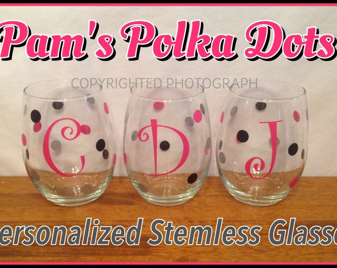 2 Personalized STEMLESS WINE GLASSES with Name Initial Monogram Polka Dots You Pick Color Great Christmas Wedding Birthday Bachelorette Gift