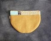 Half Moon Clutch in Mustard Yellow Linen Turquoise  Gray Patchwork Bags & Purses Handbag Women