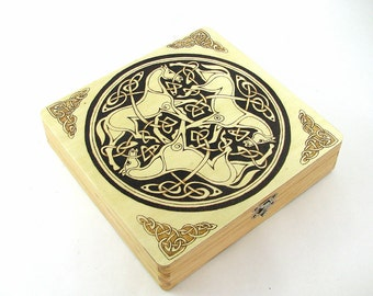 Trinity Celtic Jewelry Box - Wood Pyrography - 3 Horses Trinket Box Treasure Box