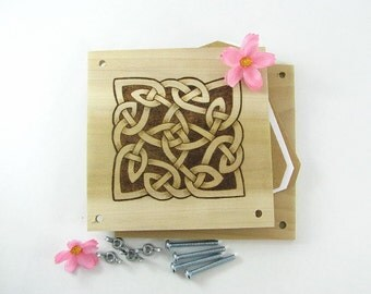 Flower Press - Wood Pyrography - Celtic Knot Plant Press