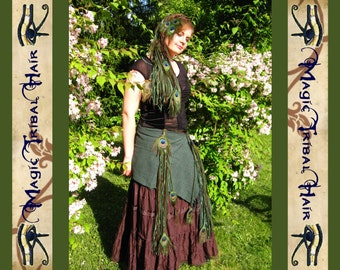 TRIBAL FUSION belly dance Woodland Fairy COSTUME Larp forest witch elf hair falls Peacock dread falls dreadlocks 2x Hip tassels 1x hip scarf