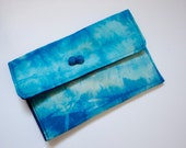 small cotton pouch / tie dye pattern in turquoise and blue / organizer bag / cosmetic case