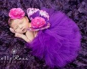 Purple Butterfly Wings, Newborn Photo Prop, Fuchsia Flowers, Glitter Elastic, Baby Girls