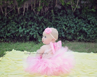 Butterfly Wings, Pink Tutu, Flower Headband, 3 Piece Set, With Straps, Photo Prop, Baby Costume