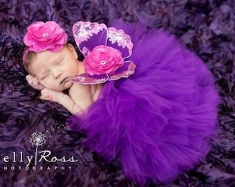 Newborn Purple Tutu, Butterfly Wings, Flower Headband, Violet Magenta, Baby Girls, Sparkle Set, Photo Prop, Stunning