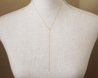 Simple Lariat Necklace // Gold or Silver