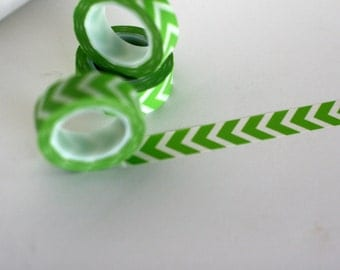 Green washi tape, Green Chevron washi tape, Apple green, Japanese washi tape, scrapbooking washi tape, tape