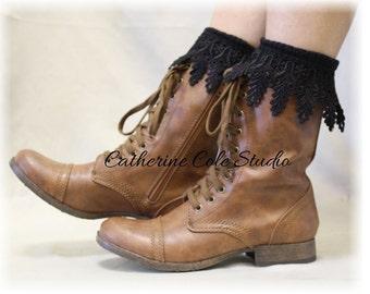 Lace boot Socks,combat  boot socks,womens boot socks, ankle socks, short boot cuff socks leg warmers BOOT BLISS Black Catherine Cole  SLXC2