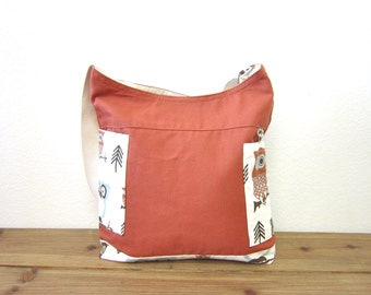 Owl canvas messenger bag/canvas ipad bag/canvas shoulder bag/canvas cross body bag/strap adjustable bag/canvas bag-  ship today
