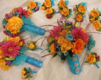 22 piece set Tropical Beach Wedding Silk Flowers. 1 Bride's Bouquet 3 Maid 10 Boutonniere.Turquoise Malibu Blue Orange Pink Yellow Coral
