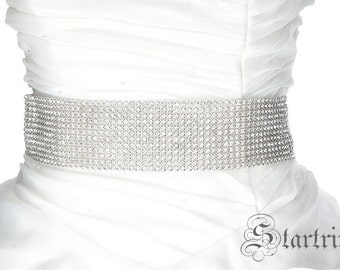 SALE BEV 12 rows crystal wedding bridal sash belt