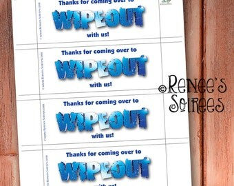 WIPEOUT BUBBLE Favors - Wrappers for Bubbles - Instant Download - Printable DIY Party Goody - Digital File