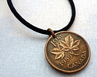 CANADA Penny copper COIN NECKLACE - one penny - one cent - collectable necklace - Canadian penny pendant