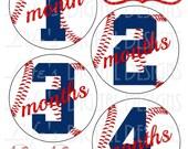 Baseball Monthly Milestone Sticker Blue Red Instant Download DIY Printable BONUS Just Born, 1-3 Weeks and Reminder Calendar Stickers LDD-020
