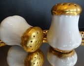Vintage Porcelain/China Salt and Pepper Shakers, Gilded Gold and Stunningly Elegant